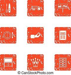 Evacuation machine icons set, grunge style - Evacuation...