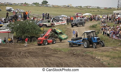 Evacuation of a racing car from the racetrack.