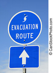 Evacuation Route Sign - A highway sign marking Hurricane...