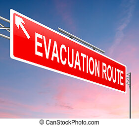Illustration depicting an evacuation route sign with sunset background.