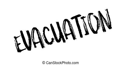 Evacuation rubber stamp. Grunge design with dust scratches....