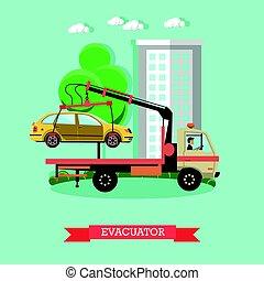Evacuator concept vector illustration in flat style