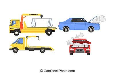 Evacuator Tow Track and Damaged Cars Set, Car Evacuation, Road Assistance Service Help Vector Illustration