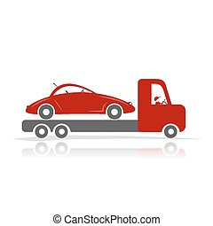 Evacuator with car for your design. Vector illustration
