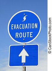 evakuering, rute, tegn