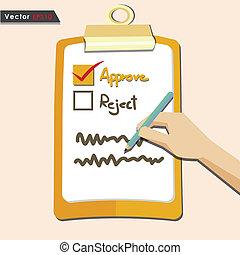evaluación, aprobar, cheque, calidad