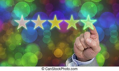 evaluación desempeño, cinco, estrella, clasificación
