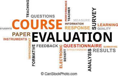 evaluación, -, nube, palabra, curso