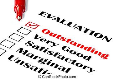 evaluación, sobresaliente