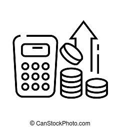 Evaluate profits line icon, concept sign, outline vector ...