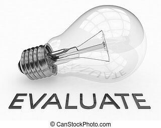 Evaluate - lightbulb on white background with text under it....