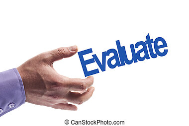 Evaluate word in male hand