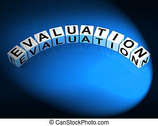 evaluatie, brieven, tonen, oordeel, schating, en, bespreken