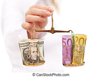 Currency rate risk concept - woman hand with euro and dollar on balance