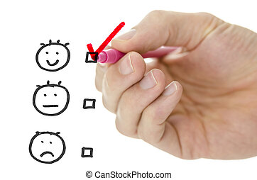 Customer service evaluation form with male hand drawing pink check mark on excellent.
