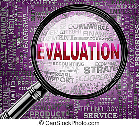 Evaluation Magnifier Represents Assessment Judgment And Research