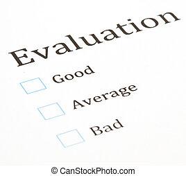 evaluation test paper document, extreme closeup photo