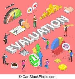 evaluation., vector, servicios, plano, isométrico, concepto