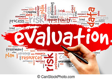 Evaluation word cloud, business concept