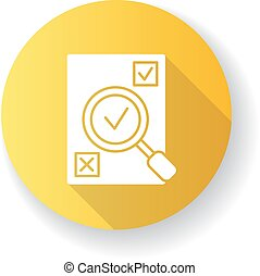 Evaluation yellow flat design long shadow glyph icon