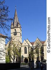 Evangelical, Cathedral, Piata Huet, Sibiu, Transylvania, Romania, facade, old, church, bell tower
