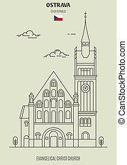 Evangelical Christ Church in Ostrava, Czech Republic. Landmark icon in linear style