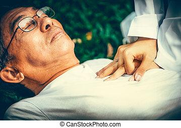 evanoui, homme, ground., personne agee, docteur, portion