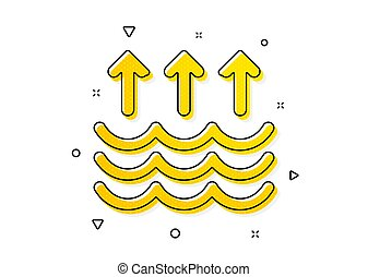 Global warming sign. Evaporation icon. Waves symbol. Yellow circles pattern. Classic evaporation icon. Geometric elements. Vector