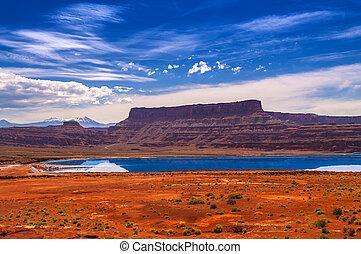 Evaporation Ponds near Potash Road in Moab Utah -...