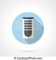Evaporative air cooler round flat vector icon
