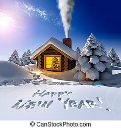 eve., 碑文, のまわり, 雪が多い, 道, -, 雪, 年の, 小屋, 小さい, 森林, コテッジ, 新しい, ...