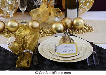 eve anni nuova, tavola cena, setting.