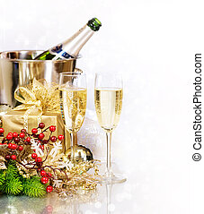 eve., nouveau, champagne., année, célébration