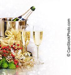 eve., nuevo, champaña., año, celebración