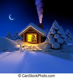 eve., omkring, snöig, spår, snö, år, koja, liten, skog,...