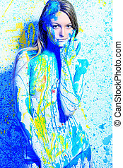 eve - Art project: beautiful woman painted with many vivid...