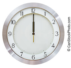 even midnight - twelve o clock on the dial round wall clock