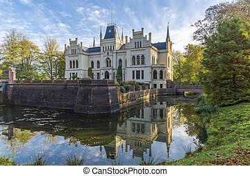 Evenburg Castle in Leer built in neo-Gothic style, Germany