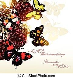 evenementen, vlinder, achtergrond, rozen, vector, romantische, ontwerp, mooi