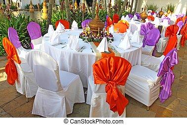 evenementen, voorbereiding, voor, diner, tafel, benoeming