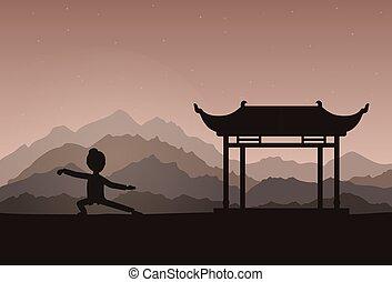evening., εκτέλεση , ή , taijiquan , ασκήσεις , κορίτσι , qigong