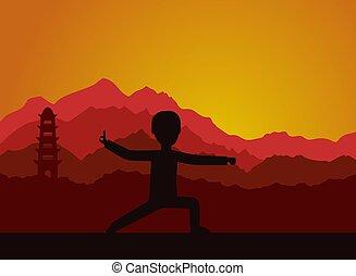 evening., εκτέλεση , taijiquan , qigong, ασκήσεις , ή , άντραs