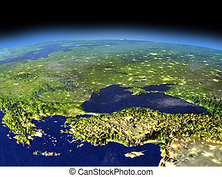 Evening above Turkey and Black sea region from space