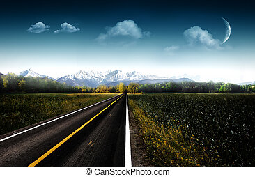 Evening. Abstract natural backgrounds with asphalt road