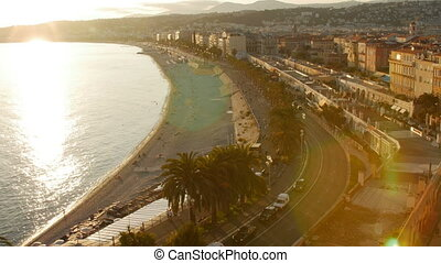 Evening Aerial Panoramic View Nice French Riviera France Beach.