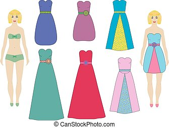 Evening and cocktail dresses for paper dolls (girl, woman) set, vector