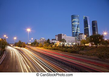 evening at Madrid highway - evening at highway next to...