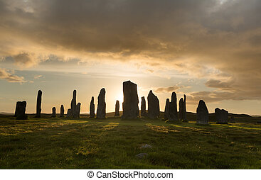 Evening at Stone Circle - Megalithic stone circle of 3000 bc...