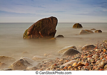 Evening at the Baltic Sea coast in Germany.