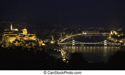 evening at the Danube river in Budapest, Hungary. - Cruise...